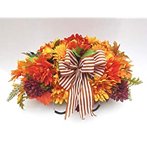 Amazing Fall Cemetery Floral Saddle 3