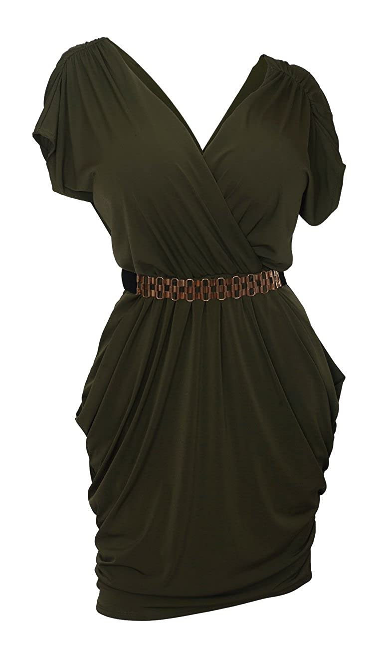 eVogues Plus Size Deep V-Neck Wrap Bodice Dress