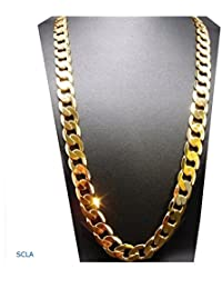 Gold chain necklace 9MM 24K Diamond cut Smooth Cuban Link...