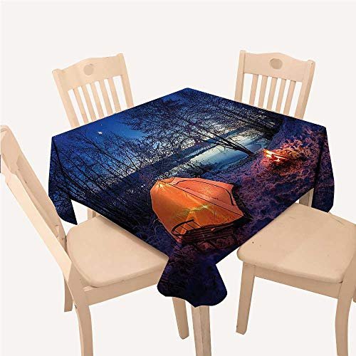 WilliamsDecor Apartment Decor Kitchen Tablecloth Dark Night Camping Tent Photo in Winter on Snow Covered Lands by The Lakeblue Orange Small Square Tablecloth W36 xL36 inch