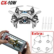 Cheerson CX-10W Real Time Wifi FPV Android / iOS Mini Quadcopter RC 4CH 2.4GHz 6 Axis Nano Drone HD Video Camera (Silver)