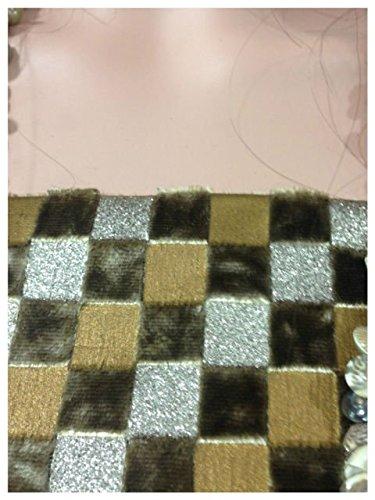 By Half yard Velvet fabric, Beige Brown Golden shimmer squares (Golden Brown Velvet Fabric)