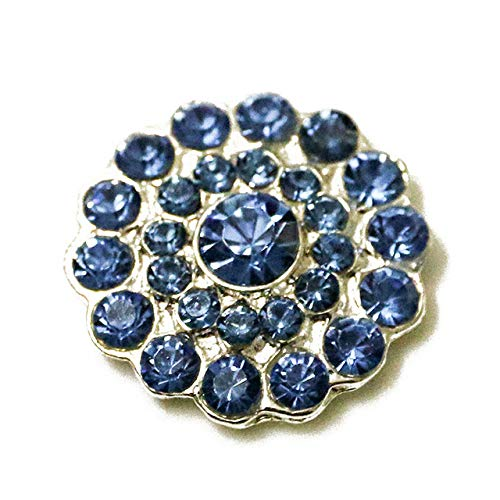 Blue Full Rhinestones Snap - Maslin 2016New 100Pcs 20mm Round Full Rhinestone Button for Wedding Decorations or DIY Hair Accessories RM241 - (Color: Blue)
