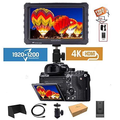 LILLIPUT A7S 7'' 1920x1200 IPS Screen Camera Field Monitor 4K 1.4 HDMI Input output Video with Black Rubber Case Best Field Monitor buy from VIVITEQ (LILLIPUT USA OFFICIAL SELLER for full warranty) by Lilliput