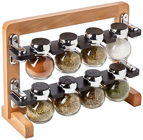 (Olde Thompson 8-jar Filled Orbit Wood Spice Rack)