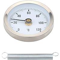 Lorsoul Acqua Calda del Tubo 120º termometro bimetallico in Acciaio Inox Superficie del Tubo di Clip-on Temperatura Primavera del Calibro del Temp