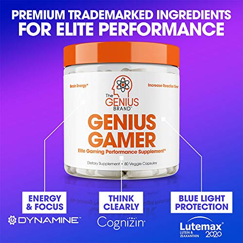 Genius Gamer - Elite Gaming Nootropic | Focus & Brain Booster Supplement - Boost Mental Clarity, Reaction Time, Energy & Concentration - Eye & Vision Vitamins w/Lutein, Support Eye Strain - 80 Pills
