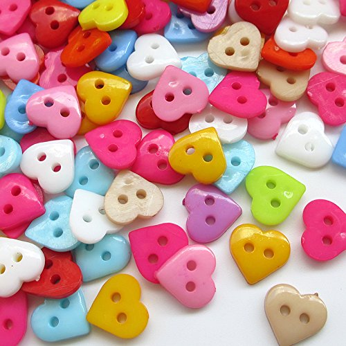 - 300pcs 10mm Mini Plastic Love Heart Button 2Holes Craft Clothe Sewing Wholesale