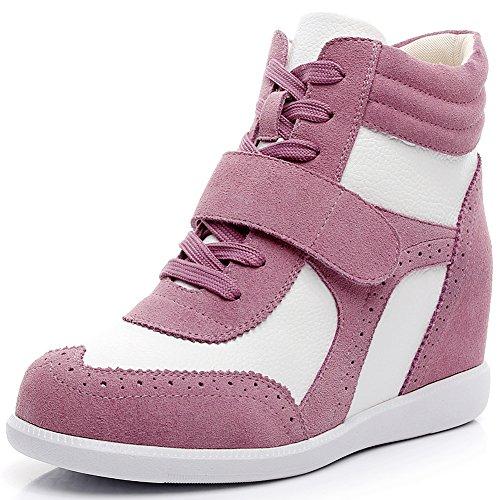 Rismart Femmes Talon Compensé Crochet Et Boucle Brogue Haut Haut Confortable Chaussures De Sport Sn8599 (rose Et Blanc, Us6.5)