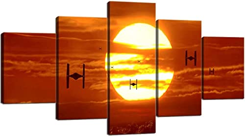 Tie Fighters Sunset Star Wars VII The Force Awakens Modern Canvas Wall Art