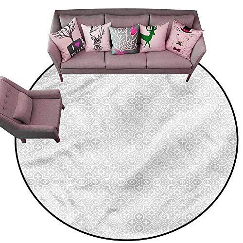 Carpet for Living Room Ivory,Floral Motifs Geometric Diameter 66