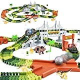 Toys : KKONES Dinosaur Toys-273pcs Create A Dinosaur World Road Race-Flexible Track Playset and 2 pcs Cool Dinosaur car for 3 4 5 6 Year & Up Old boy Girls Best Gift (Green)