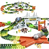 Dinosaur Toys-273pcs Create A Dinosaur World Road Race-Flexible Track Playset and 2 pcs Cool Dinosaur car for 3 4 5 6 Year & Up Old boy Girls Best Gift