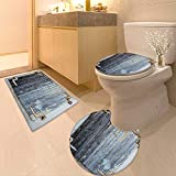 Non Slip Bathroom Rugs Rustic Wooden Window Shutters Shabby Paint Rusty Antique Traditional Village Picture Blue Absorbent Cover