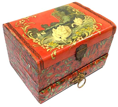 Victorian Celluloid - Antique Victorian Celluloid Covered Vanity Dresser Trinket Jewelry Box w/Swan Graphics