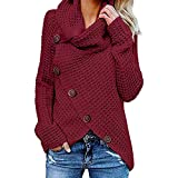 WOCACHI Final Clear Out Womens Knitted Blouses Long Sleeve Sweater Sweatshirt Pullover Tops Shirts Black Friday Cyber Monday Turtleneck Solid Color Button Decor Autumn Bottoming Shirt Pile Collar