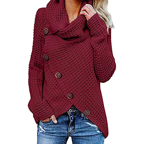 JOFOW Womens Sweaters Turtleneck Solid Slant Cross Front Knitwear Plus Size Irregular Shawl Collar Warm Tunic Knit Tops Pullover (XL,Wine red)