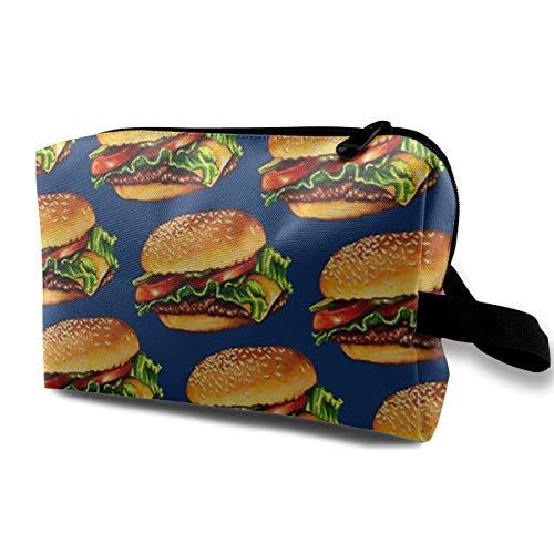 (HIHQ1A Cheeseburger Multifunction Portable Make-up Bag Makeup Bag Sewing Kit Medicine Bag Cosmetic Bag for Home Office Travel)