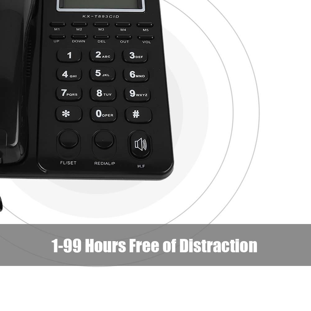 Schwarz Tonysa Schnurgebundenes Telefon mit Anrufbeantworter,LCD Display Desktop Festnetztelefon mit Freisprecheinrichtung//3 Gruppen Alarmen f/ür Zuhause//B/üro//Hotel