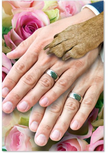 Hands And Dog Paw Gay - Congratulations Wedding Card with Envelope (4.63 x 6.75 Inch) - Married Men, Newlywed Wedding Greeting Notecard 9035