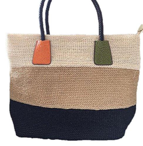 Kimiyar Good Women Durable Weave Straw Beach Bags Linen Woven Bucket Grass Casual Tote Handbags Rattan Bags