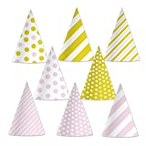Beistle 60032 Pink and Gold Cone Hats (24 Pack), 6.5, Pink/Gold/White
