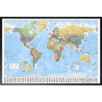 Amazon framed world map flags at bottom 36x24 dry mounted framed world map flags at bottom 36x24 dry mounted poster in basic wood frame gumiabroncs Image collections