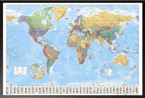 Amazon.com: Framed World Map (Flags At Bottom) 36x24 Dry Mounted ...