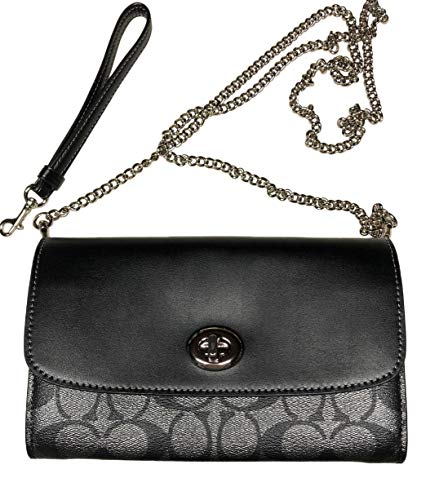 COACH MTLC CLUTCH CHAIN CROSSBODY HANDBAG SIGNATURE BLACK GUNMETAL F40645