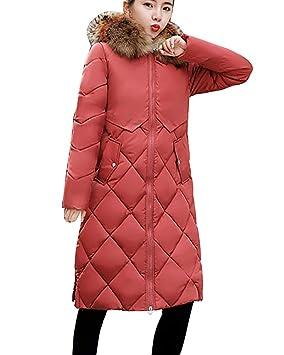 Guiran Mujer Abrigos Plumas Largo Invierno Espesar Cálido Chaquetas con Capucha Cazadoras Parkas Pink S