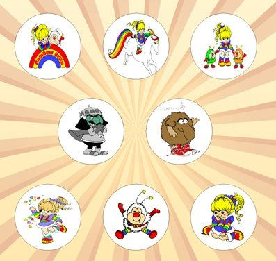 [Rainbow Brite Set of 8 - 1 Inch Pinback Buttons] (Murky Rainbow Brite Costume)
