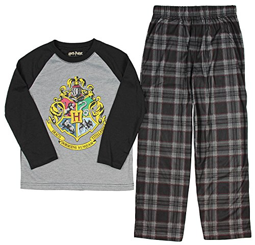 Harry Potter Big Boys Harry Potter Hogwarts Magic Wizard House Crest Plaid Pajama Set 10//12 HP0096RGP Gray
