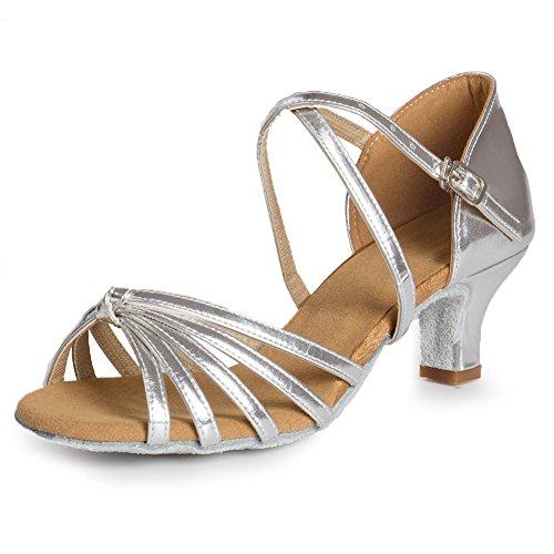 HIPPOSEUS Women's Silver Leather Latin Dance Shoes Ballroom Dancing Shoes,Model WZJ-CL-DJ-5, 7 B(M) US by HIPPOSEUS