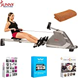 Sunny Health and Fitness Programmable Magnetic Rowing Machine w/High Weight Capacity (SF-RW5854) with Tech Smart USA Fitness & Wellness Suite & Workout Cooling Towel Orange