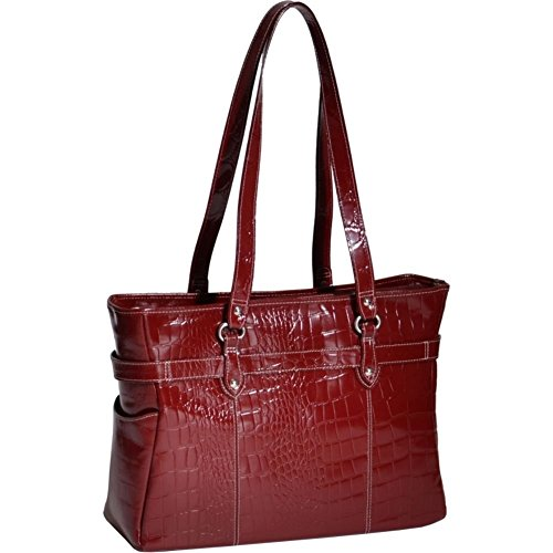Siamod SERRA Leather Ladies' 15'' Laptop Tote, Womens Computer Briefcase in Red by Siamod