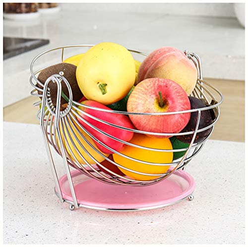 XL_FRUIT Fruit Bowls Stainless Steel Fruit Basket, Living Room Storage Creative Fruit Bowls Swing Dip Fruit Display Stand Round Water Tray