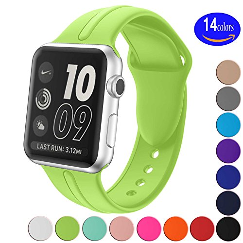 Apple Watch Band Silicone 38mm 42mm,Sundo Iwatch Replacement Wrist Strap Bracelet Band for Apple Watch Nike+ Sport Edition Series 1 Series 2 Series 3 (Green 38 SM) (Band Rubber Watch Wrist)