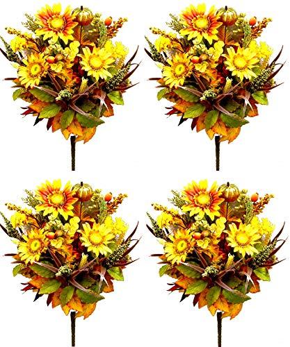 Admired By Nature GPB140-MIXED 4 Piece Halloween/Thanksgiving Decoration Arrangement Artificial Pumpkins/Sunflowers/Daisy/Berries/Leaves/Filler Mixed Flower Fall Harvest Bush, 21