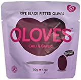 Cheap Oloves Chili & Garlic | Fresh Black Pitted Olives | All Natural | Healthy Snack | Vegan | Gluten Free | Kosher | Low Cal |30 Pack (1.1oz Bags)