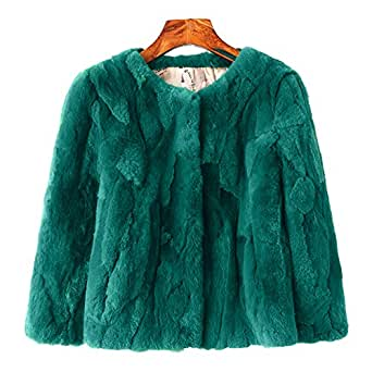 MINGCHUAN Rex Rabbit Fur Coat, Women's Genuine Fur Warm Fluffy Jacket Waistcoat Outwear (Short Section)