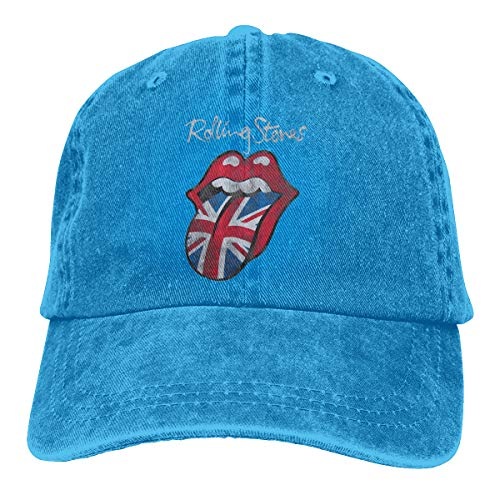 DADAJINN The Rolling Stones Distressed Union Jack Adjustable Athlete Cotton Washed Denim Cap Hat Blue