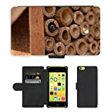 Hot Style Cell Phone Card Slot PU Leather Wallet Case // M00129390 Mason Bee Bee Osmia Insect House // Apple iPhone 5C