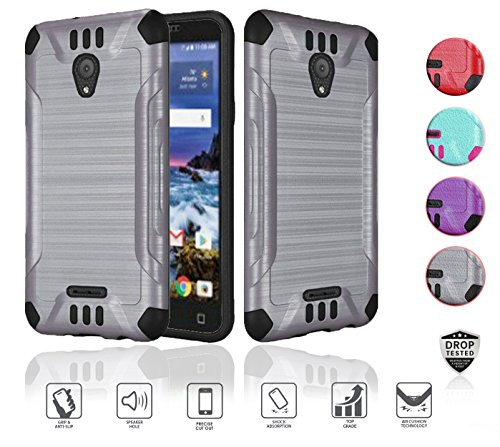 Alcatel idealXcite Case (Xcite Version 5044r), Alcatel Verso Case, Alcatel CameoX case, Heavy Duty Metallic Brushed Slim Hybrid Shockpoof Dual Layer Armor Defender Protective Case (Grey)