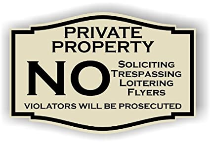 amazon com private property no soliciting no trespassing no flyers