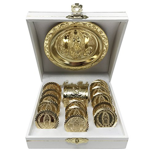 Wedding Arras (13 pcs) with a Miniature Chest Box, an Our Lady of Guadalupe Medallion and a White Case. Golden - Plated Wedding Unity Coins. Arras de Boda.