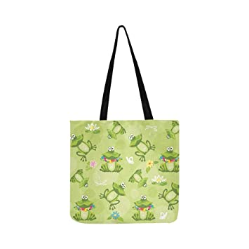 y Bolso con de sobre fondo bolso de diseño flores ranas bandolera verde lona wUUrqxSX