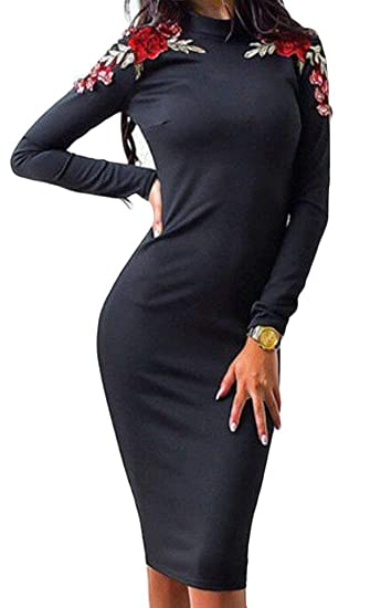 0e5494b2e71 Amazon.com  Women s Sexy Hot Bodycon Clubwear Night Out Dresses Long Sleeve  Pencil Evening Prom Cocktail Party Mini Club Dress  Clothing