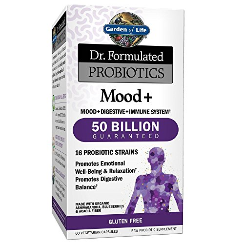 Free 60 Capsules (Garden of Life - Dr. Formulated Probiotics Mood+ - Acidophilus Probiotic Promotes Emotional Health, Relaxation, Digestive Balance - Gluten, Dairy, and Soy-Free - 60 Vegetarian Capsules (Shipped Cold))