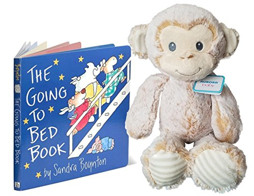 Aurora Cuddler Monkey Marlow Plush with The Going to Bed Board Book Gift Bundle for Babies and (Monkey Aurora Babies Plush)