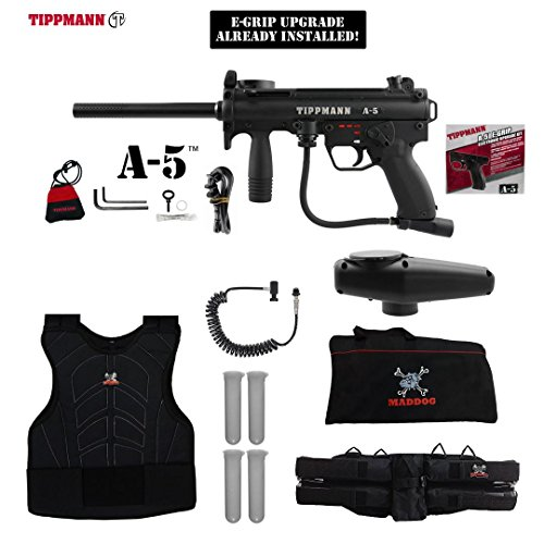 Tippmann A-5 w/ Selector Switch E-Grip Sergeant Paintball Gun Package - Black (Automatic Coil Selector)